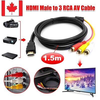 1080p Gold Plated HDMI Male to 3 RCA AV Audio Cable Cord Adapter for TV,HDTV,DVD