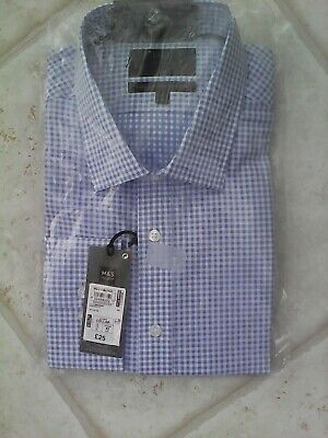 "Bnwt  Blue & White Check  Cotton Shirt Long  Sleeve 17"" Collar Marks & Spencer"