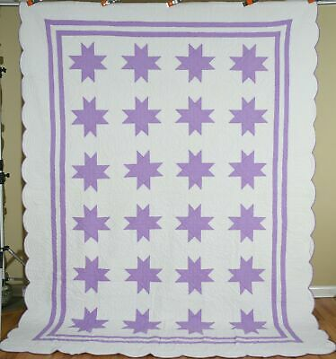 Large WELL QUILTED Vintage Lavender & White Variable Stars Antique Quilt!