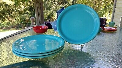 "4 DINNER bistro PLATES set lot turquoise blue FIESTA WARE 10.5"" NEW"