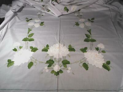 """White Cotton 102""""L Tablecloth Hand Emb & Appliqued Gorgeous White Roses & Leaves"""