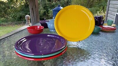 """4 DINNER bistro PLATES set daffodil turquoise scarlet mulberry FIESTA 10.5"""" NEW"""