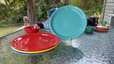 "4 DINNER bistro PLATES set sunflower turquoise scarlet lapis FIESTA 10.5"" NEW"