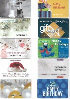 10 Different Older Bon-Ton Gift Cards   T9-1