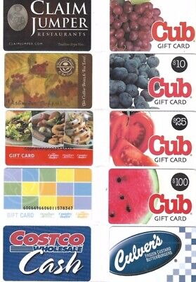 10 Different Food Gift Cards   T9-5