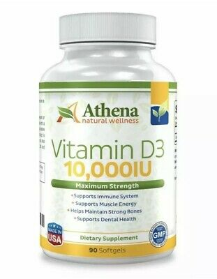 Athena Vitamin D3 10000IU High Strength  90 Softgels Supports Immunity Sealed