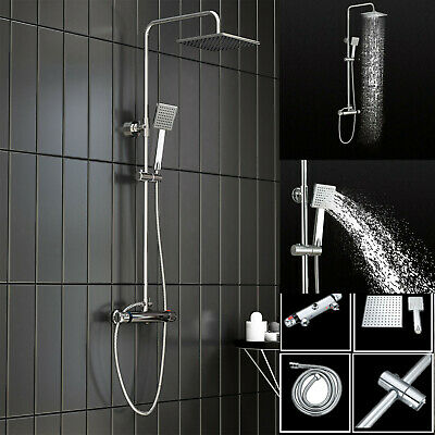Large Thermostatic Exposed Shower Mixer Bathroom Twin Head Square Bar Valve Set