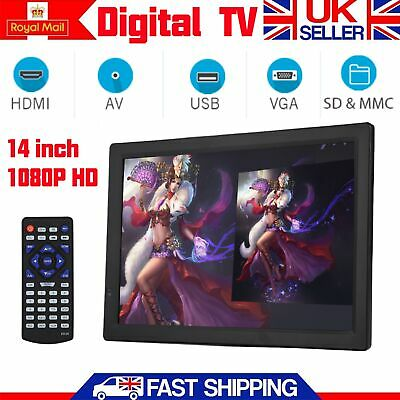 Portable Freeview 14inch 1080P HD Digital TV USB HDMI Video Player Television UK