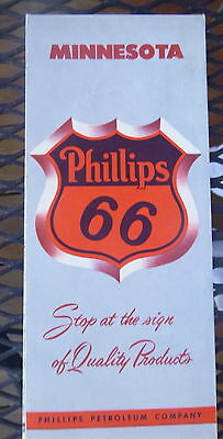 1954 Minnesota  road map Phillips 66 oil gas  Boundry Waters