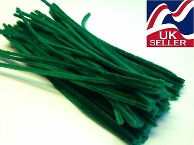 "10 pack GREEN chenille craft stems pipe cleaners 30cm (12"") long 6mm wide"
