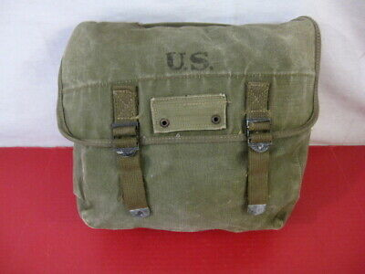 WWII Era US Army/USMC M1936 Canvas Musette Bag - OD Green Color - 1945 - NICE