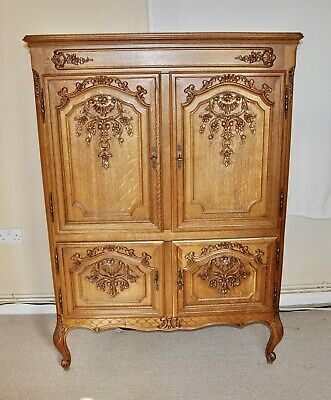 Louis Xv Style Vintage French Carved  Oak 4 Doors Side Cabinet Used