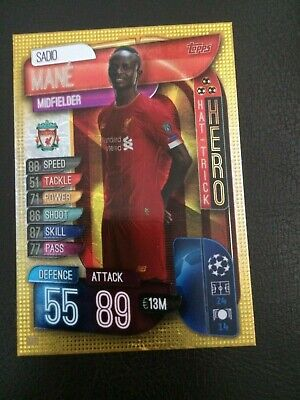 Match Attax 2019/20 Sadio Mane Hat-Trick Hero No 317 Mint