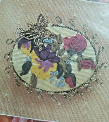 Creative Beginnings Silk Ribbon Embroidery Butterfly's Delight Pin Kit Flowers