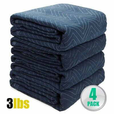 "4 Pieces Moving Blankets Bundle 72 x 80"" Professional Quilted Moving Pads Pack"