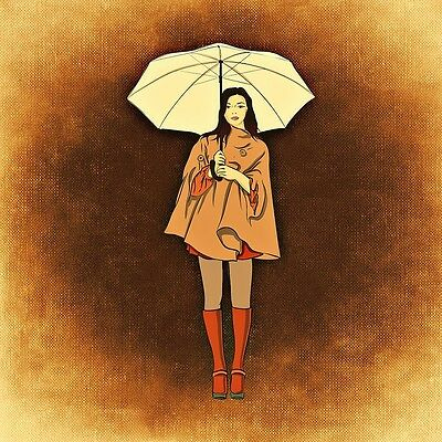 """perfect 30x30 oil painting handpainted on canvas""""A woman with an umbrella""""@N1976"""