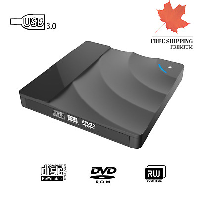 New Black External DVD Drive USB 3.0 DVD Player Burner CD Writer Recorder Reader