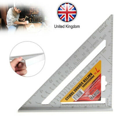 """7"""" Roofing Speed Square Aluminium Alloy Rafter Angle Measure Triangle Guide Uk"""