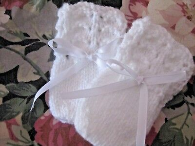 Lovely Hand Knitted Baby Mittens In White Size New Born (6)