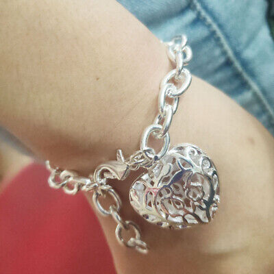 Charm Women Bangle Hollow Heart Chain Bracelet 925 Sterling Silver Cuff Jewelry