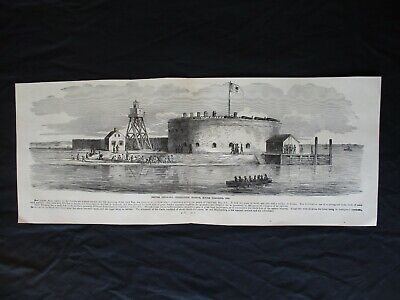 1885 Civil War Print - Castle Pinckney, Charleston Harbor, South Carolina, 1861