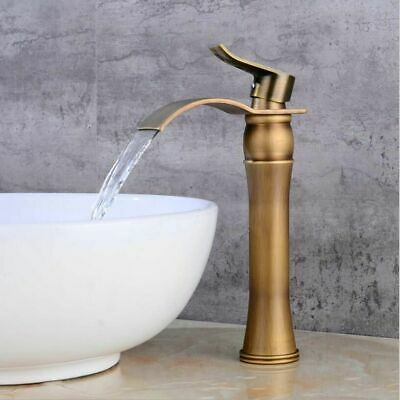 Bathroom Faucet Antique Crane Brass Basin Single Handle Water Tap Hot Cold