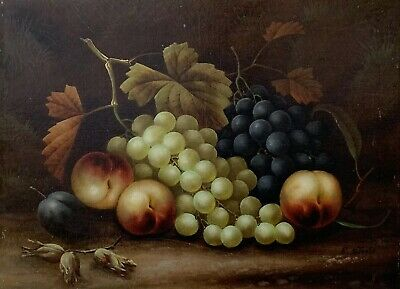 E. Steele - Antique English Oil Painting On Canvas - Still Life Autumn Fruits