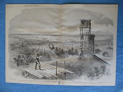 # 1885 Civil War Print - View From Harrison's Mansion, Showing Camps, Docks +
