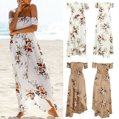 Womens Off Shoulder Bodycon Sundress Evening Party Long Boho Maxi Summer Dres