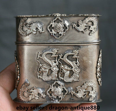 8CM Old Chinese Miao Silver Dynasty Double Dragon cut tobacco coccoloba Box