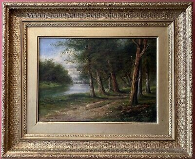 Fine Victorian 1870'S Signed Oil Painting - Woodland River Landscape - Framed