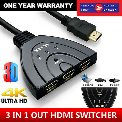 4K Ultra HD 3 Way HDMI Switch Splitter HDTV Auto 3 Port IN 1 OUT Splitter CAN SL