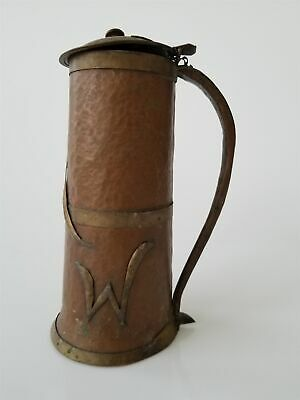 antique ARTS and CRAFTS hammered COPPER brass TANKARD handmade personal id HAW