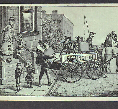 Remington Ilion NY Sewing Machine Delivery Wagon Horse Victorian Trade Card