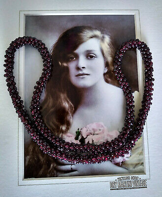 Antique Victorian Natural Garnet Rope Necklace Beautiful Gift