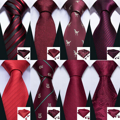 Wine Red Burgundy Men Tie Set Silk Solid Plain Paisley Striped Necktie Wedding