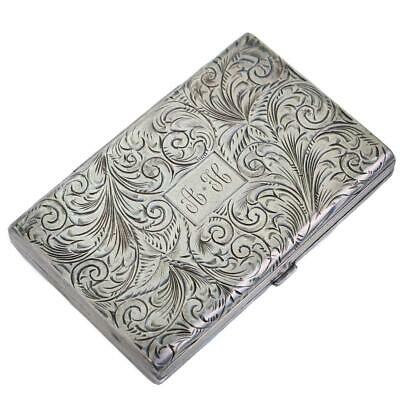 Antique Art Nouveau Sterling Silver Compact Floral Embossed Box Powder AH Mono.