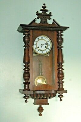Antique Victorian Vienna Wall Clock With Key & Pendulum.enamel Dial.