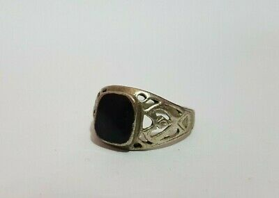 rare ancient roman ring metal color silver black stone artifact amazing
