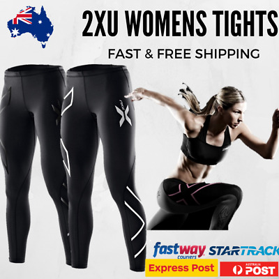 2XU Womens Tights Full Length Mid Rise Compression Skins -Silver Black Blue Gold