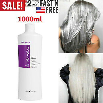 Shampoo 1000ml Fanola No Yellow Ideal For Grey Silver Lightened Or Decolored Hai