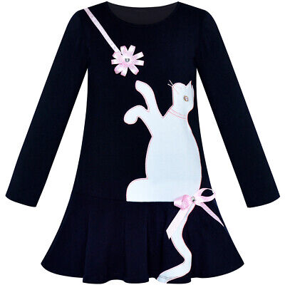Girls Dress Cotton Casual Long Sleeve Cat Embroidered Age 3-7 Years