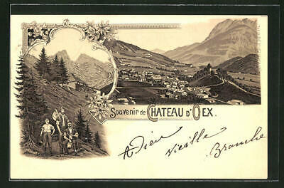 Lithographie Chateau d´Oex, Totalansicht 1898