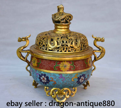 "8.4"" Marked Old Chinese Cloisonne Copper Dragon Handle Incense Burners Censer"