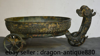 """16"""" Rare Old Chinese Dynasty Bronze Word Beast Vessel Ware Wine Basin Bowl Plate"""