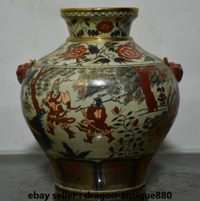 "15"" Old Chinese Wucai Porcelain Gilt Dynasty People Warrior Buddha Pot Jar Crock"