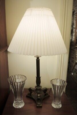 Large Vintage Brass Lion Paw Reeded Lamp with Pleated Shade 1940's