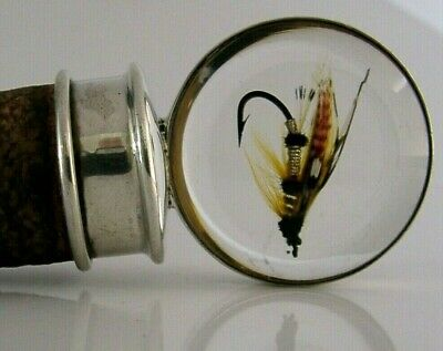 Rare Asprey Fly Fishing Sterling Silver Bottle Stopper Bar Ware London 1968