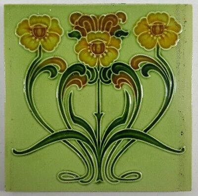 "Stylish Vintage Floral Art Nouveau Design Ceramic Tile 6"" Square"
