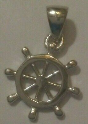 2 Helm Charms Antique Silver Tone Large Size Ship/'s Wheel SC1494